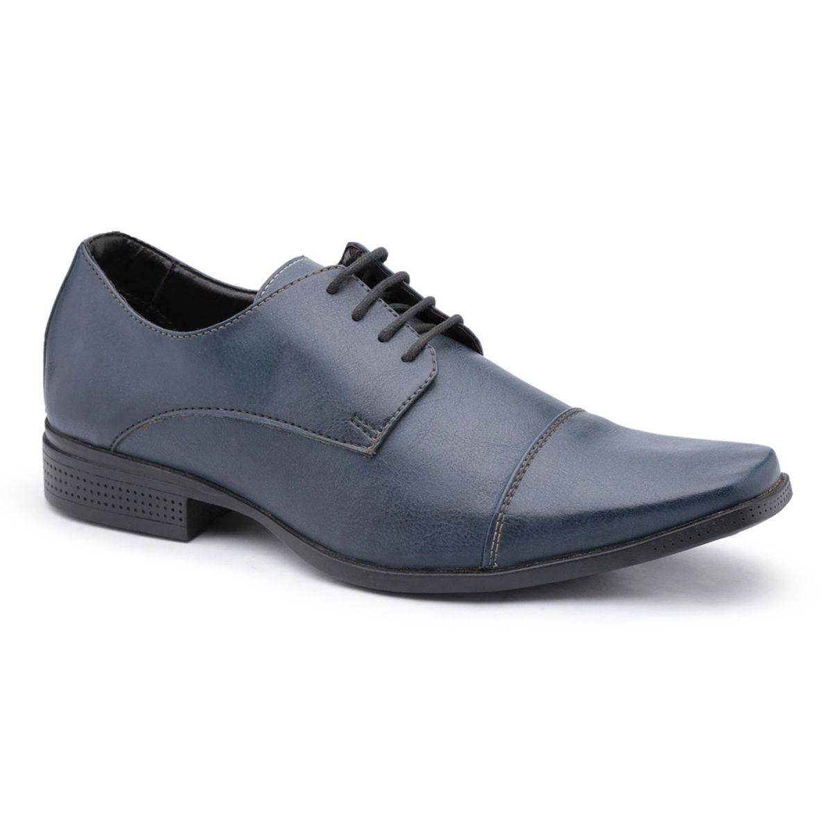 752ea00b2 Sapato Social Masculino Ruggero em Couro Ecológico Azul   Sapato Masculino  Ruggero Nunca Usado 27731358   enjoei