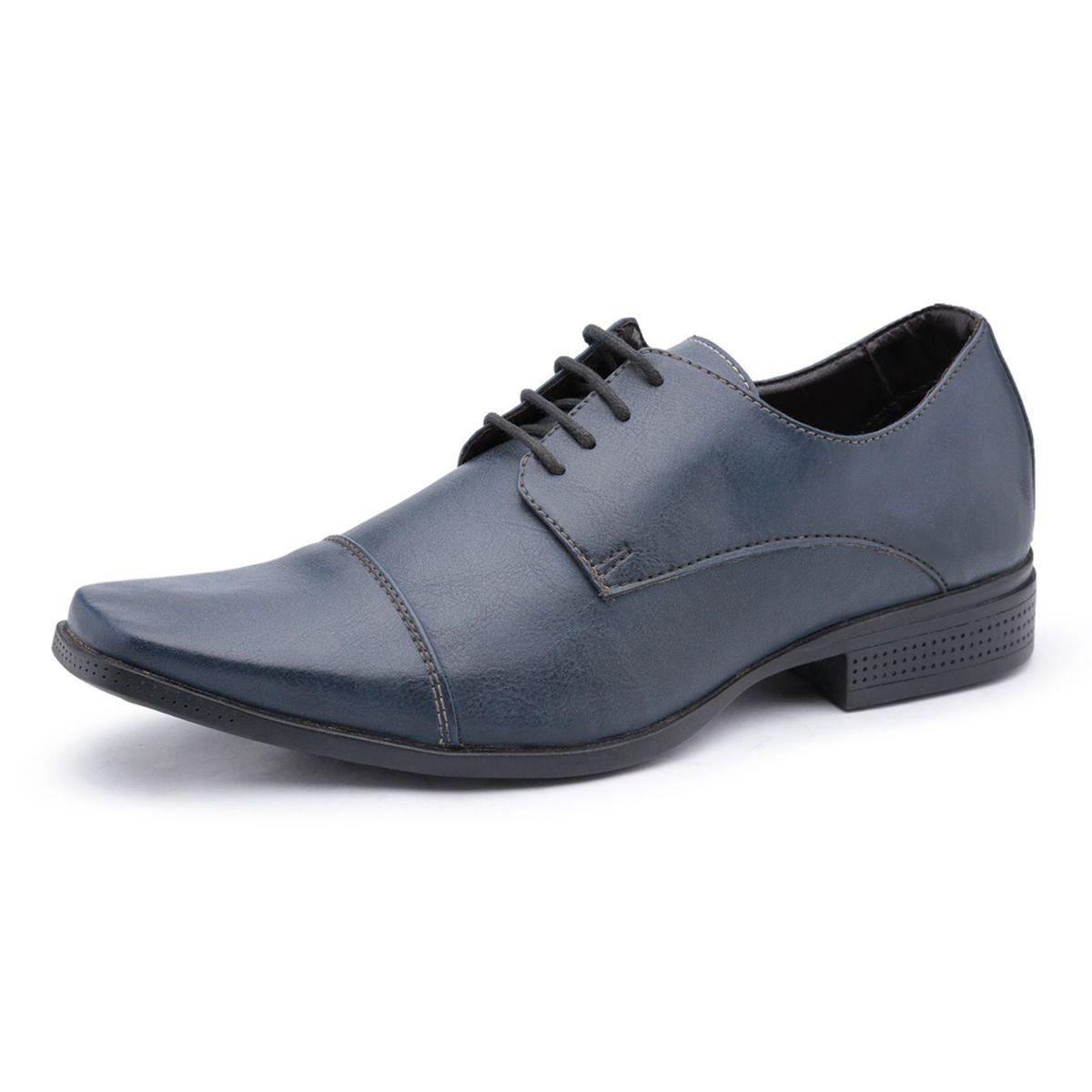 975a8a9c8 Sapato Social Masculino Ruggero em Couro Ecológico Azul   Sapato Masculino  Ruggero Nunca Usado 27817316   enjoei