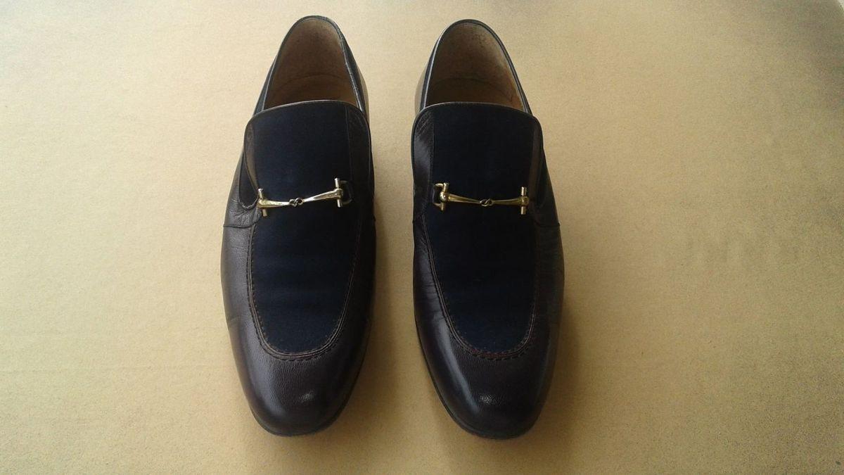 530cb659a sapato social vintage feito à mão azul marinho, couro legítimo e camurça  (tamanho 39