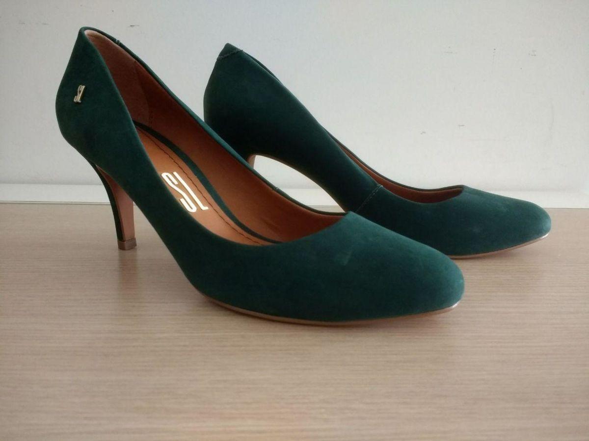 e17cd9007 scarpin couro verde santa lolla - sapatos santa-lolla