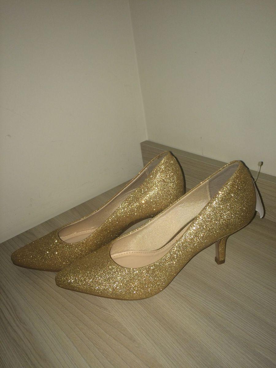 scarpin dourado gliter vizzano 38 - sapatos vizzano 7debaca880064