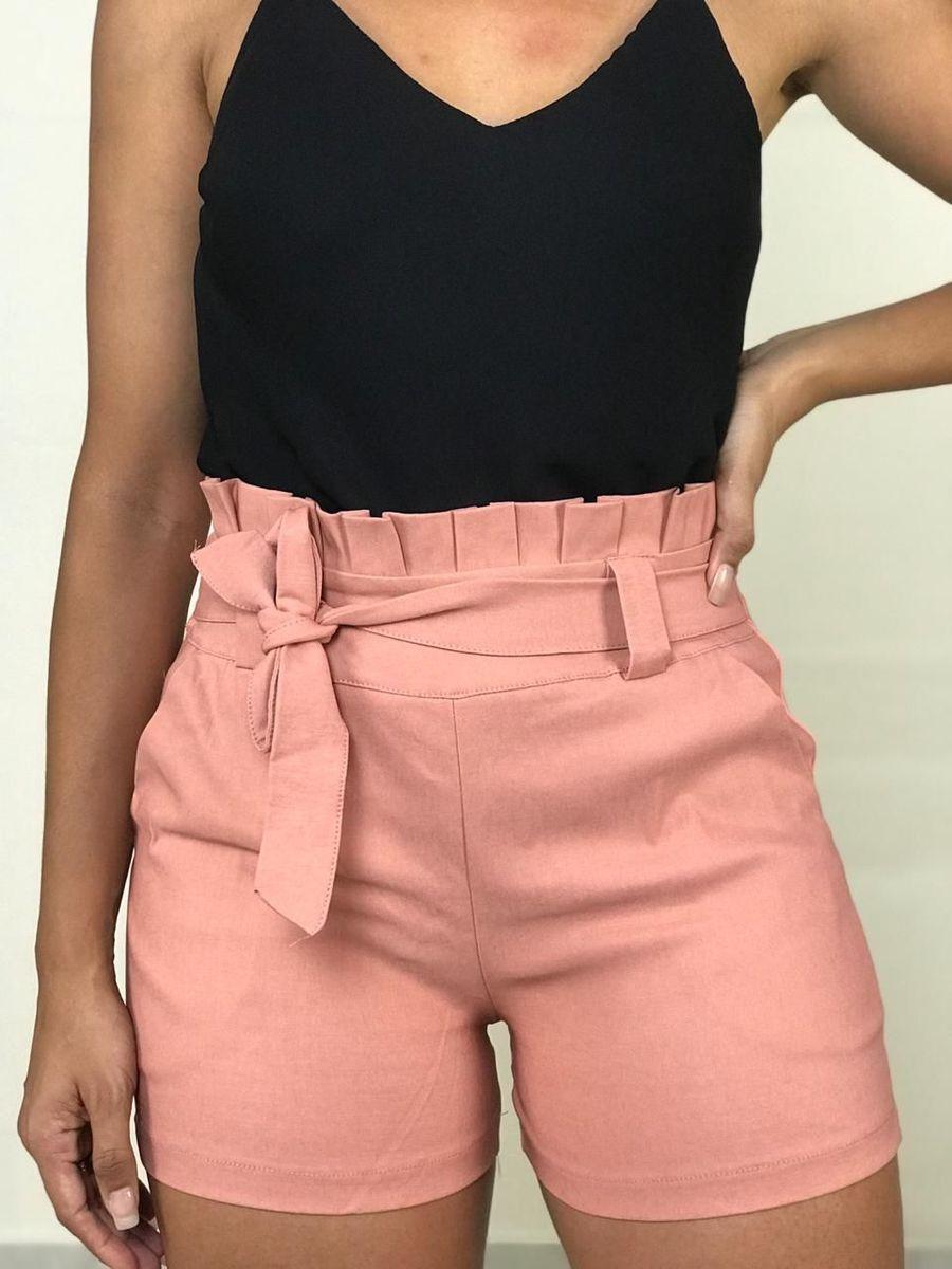 96b505c67fb858 short cintura alta bengaline clochard laço roupas femininas