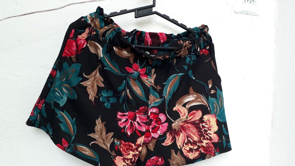 short com elástico estampa floral - short felícia fashion