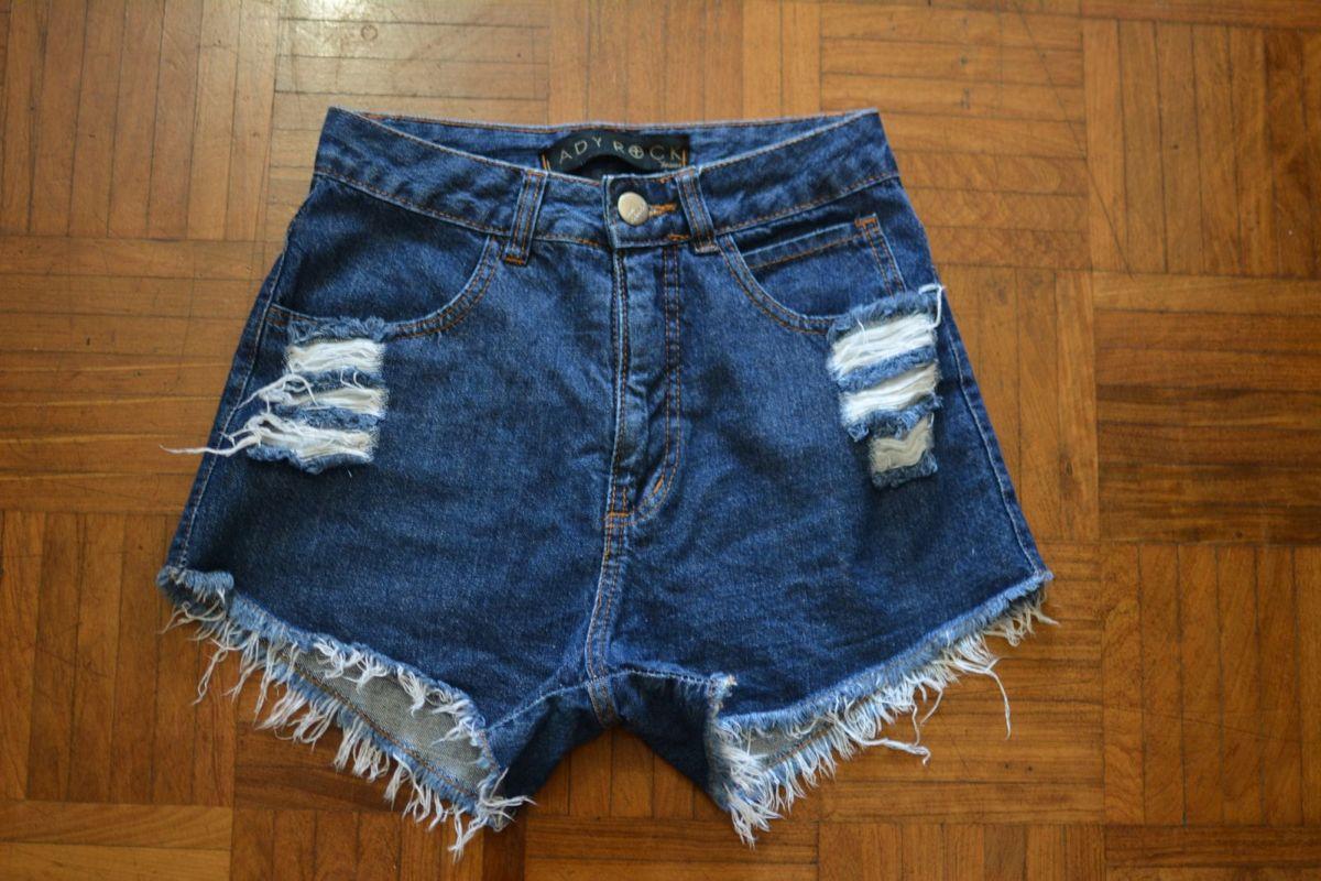 02506e395 Short Jeans Cintura Alta/hot Pants Lady Rock | Shorts Feminino Lady ...
