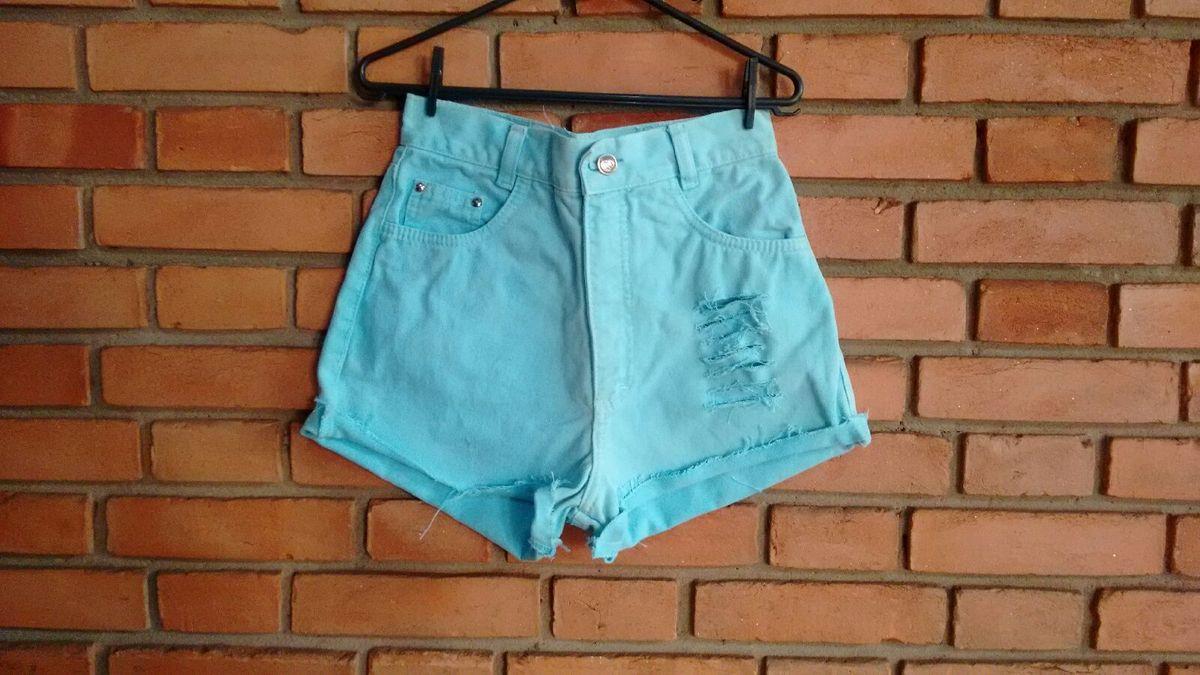 shorts azul agua destroyed - short feito-a-mao
