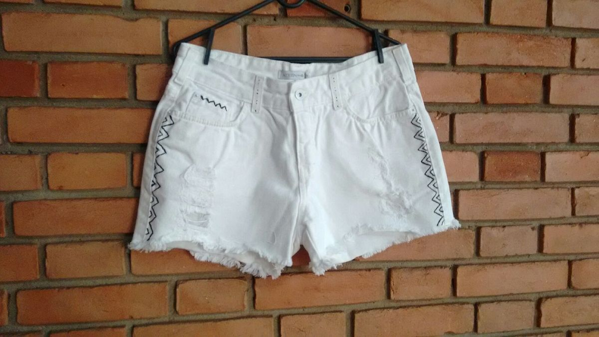 shorts jeans branco etnico - short ateen