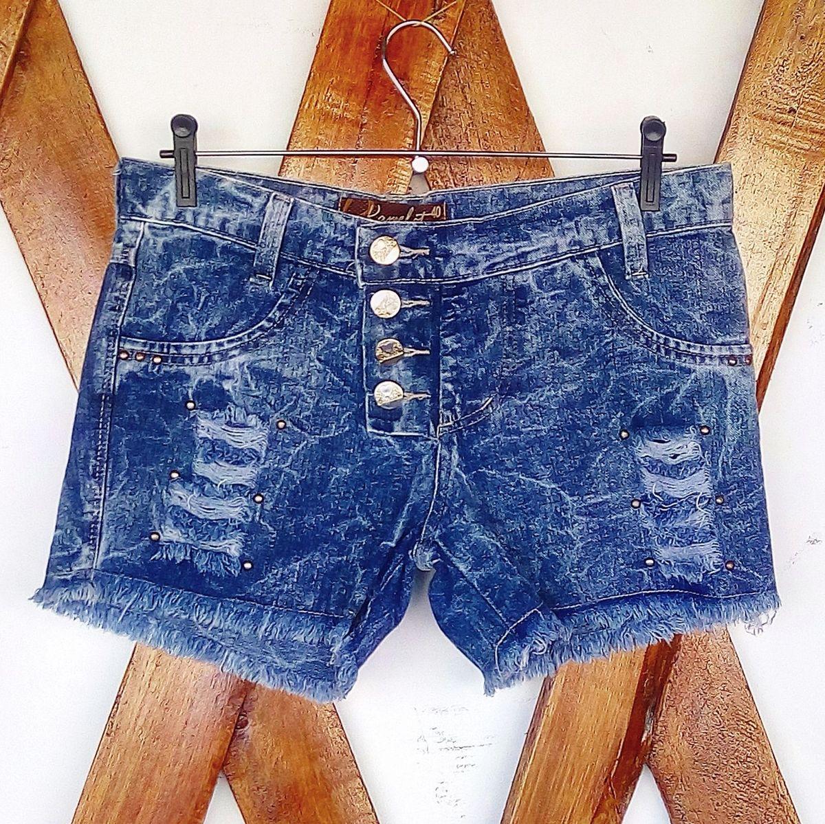shorts jeans destroyed curto - short kamelot