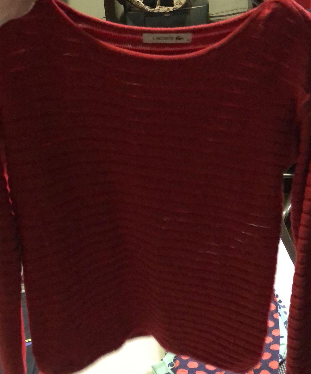 4f55d53663217 suéter lacoste original feminino tam 36 - casaquinhos lacoste