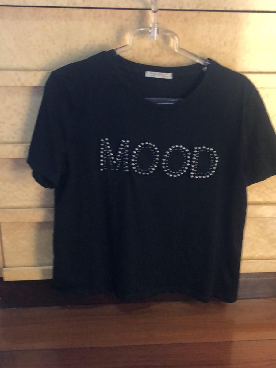 t-shirt em malha preta - blusas zara