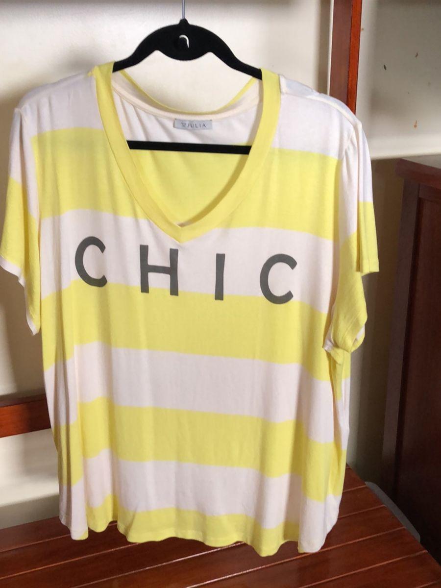 t shirt plus size listrada chiq - camisetas júlia plus