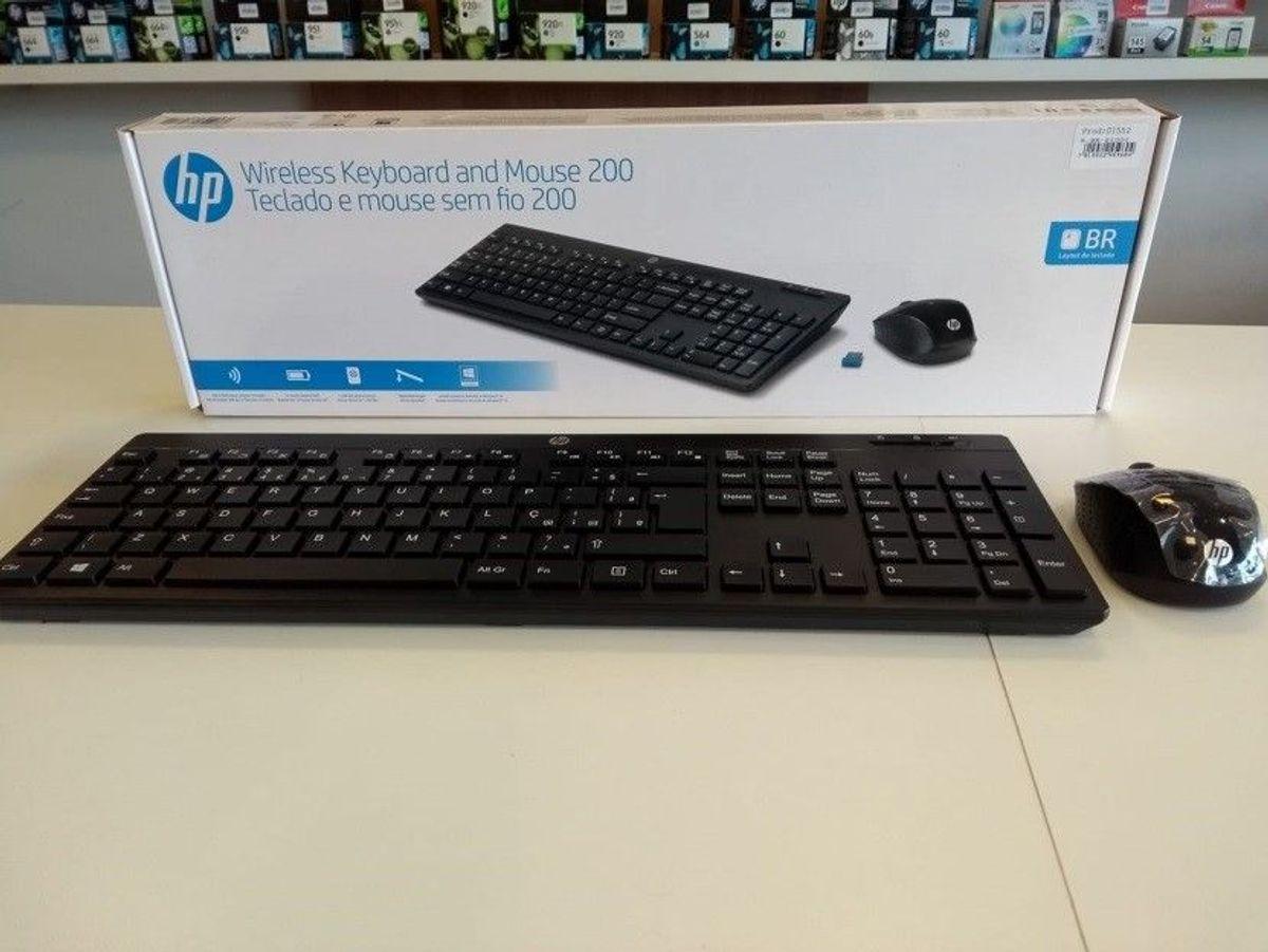 teclado e mouse sem fio - hp 200 - teclado hp