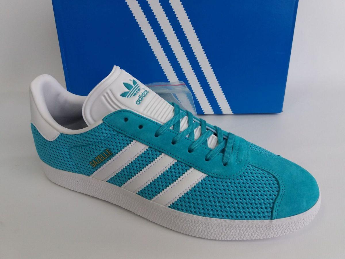 5d6e01037b0 tênis adidas skateboarding gazelle azul agua verde original - tênis adidas