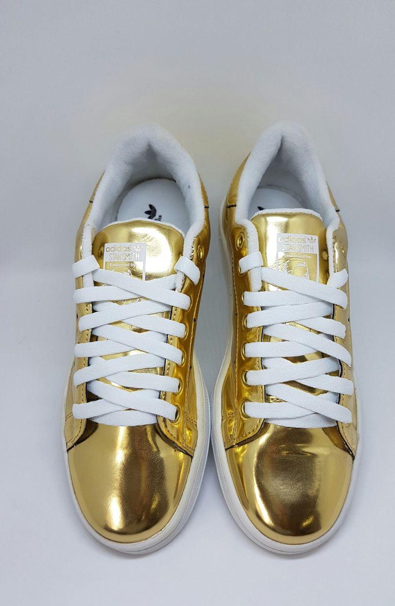 9dffe902232 tenis adidas stan smith espelhado dourado - tênis adidas