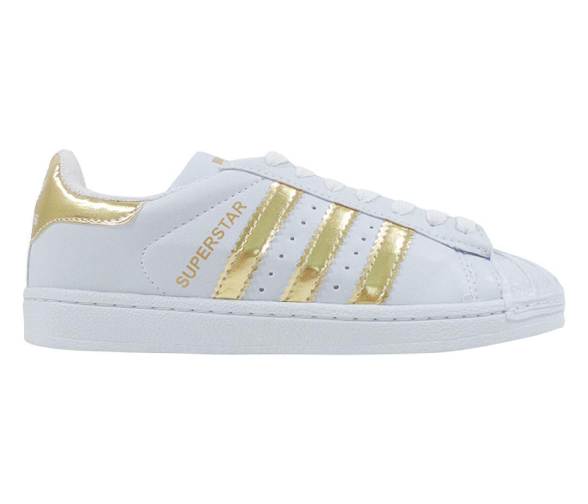 e6aee4ac1e6 tênis adidas superstar branco e ouro - todos tamanhos - sapatos adidas