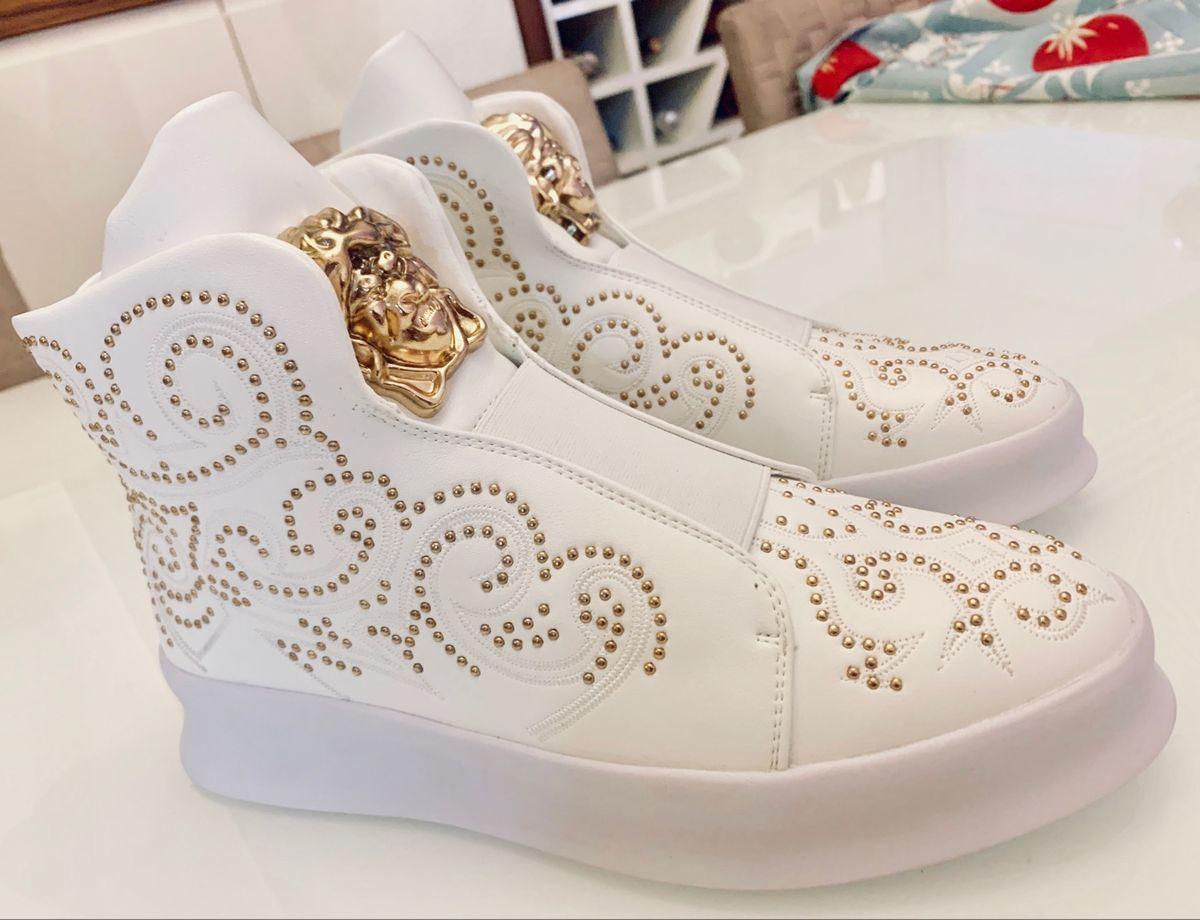 tênis de luxo , raridade , cano alto branco - tênis sem marca