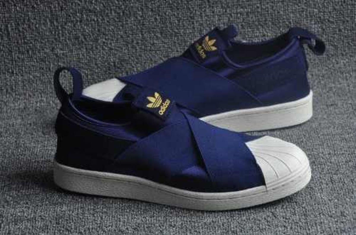 60044e565f5 tênis elastico adidas superstar slip on azul escuro - tênis adidas