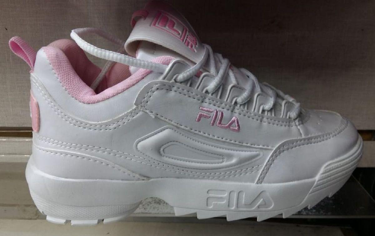 a1dc34b29 Tênis Fila Feminino Branco Rosa Festa | Tênis Feminino Fila Usado ...