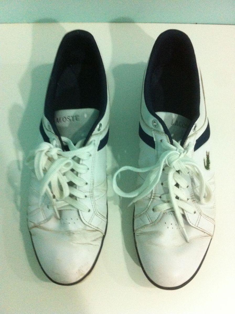 ca6c7490b0d tênis lacoste evershot couro branco azul escuro tamanho tam 44 genuíno  autêntico original - tênis lacoste