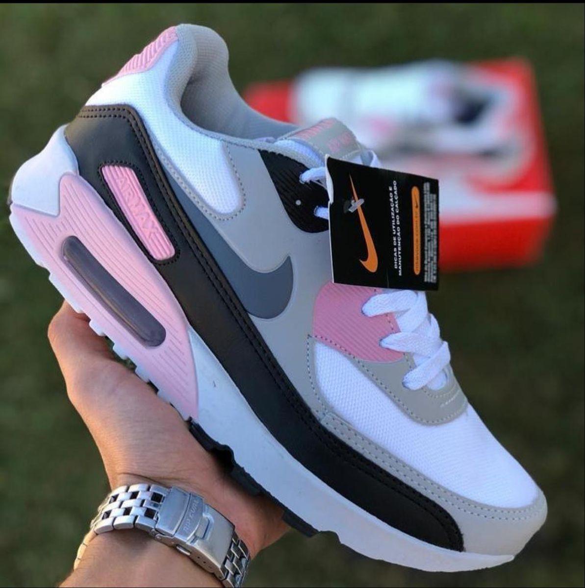 air max 90 cinza e rosa