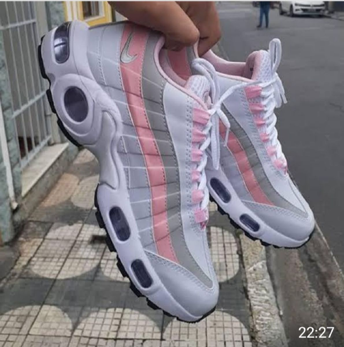 air max 95 feminino rosa e branco
