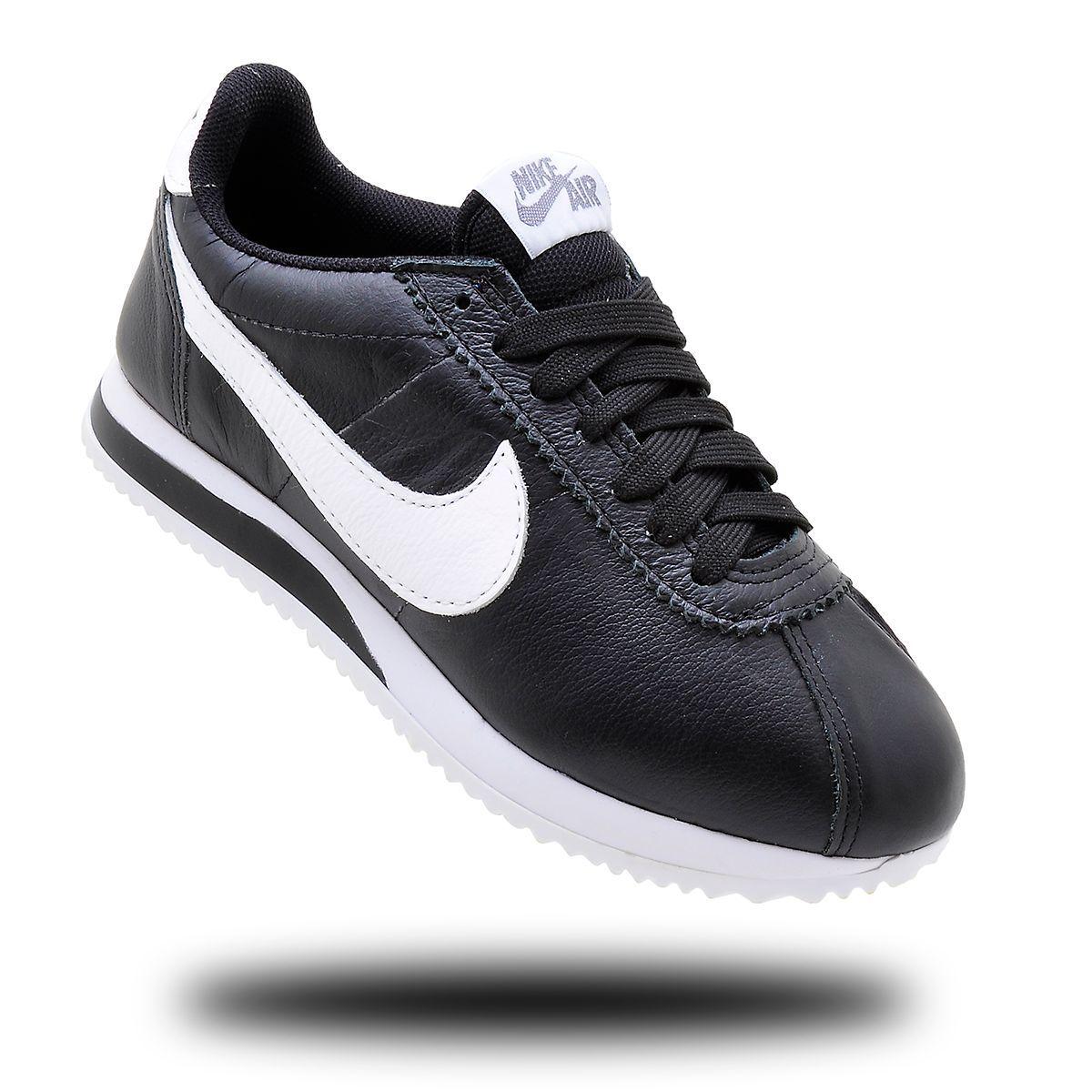 meet 16631 83566 Tênis Nike Cortez Leather Preto com Branco Cano Baixo Nº 37   Tênis  Feminino Nike Nunca Usado 33771229   enjoei