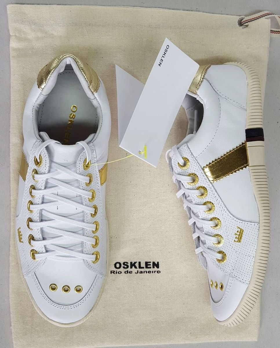 a91c42db1 Tênis Osklen Branco com Dourado Feminino | Tênis Feminino Osklen ...