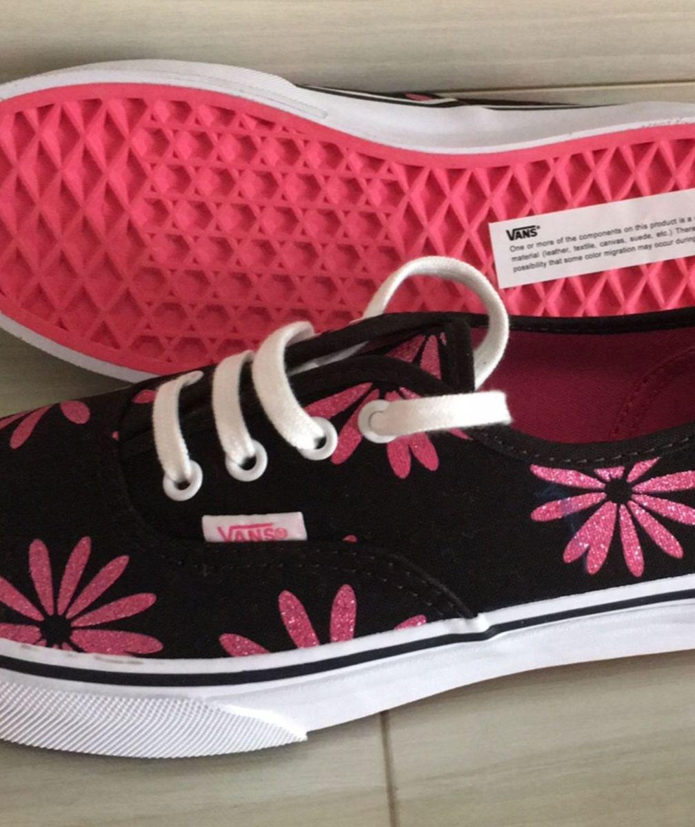 3664ef1d379 tênis vans preto com flores de glitter rosa - tênis vans