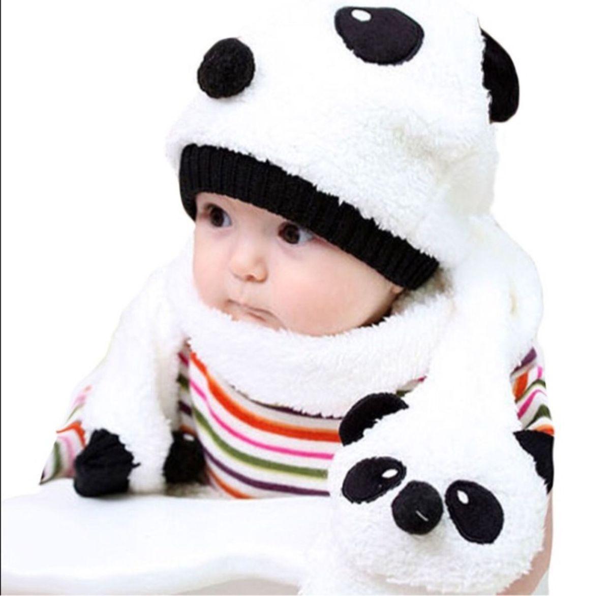 touca gorro beanie kit infantil criança panda cachecol - outros sem-marca b3bed617e0d