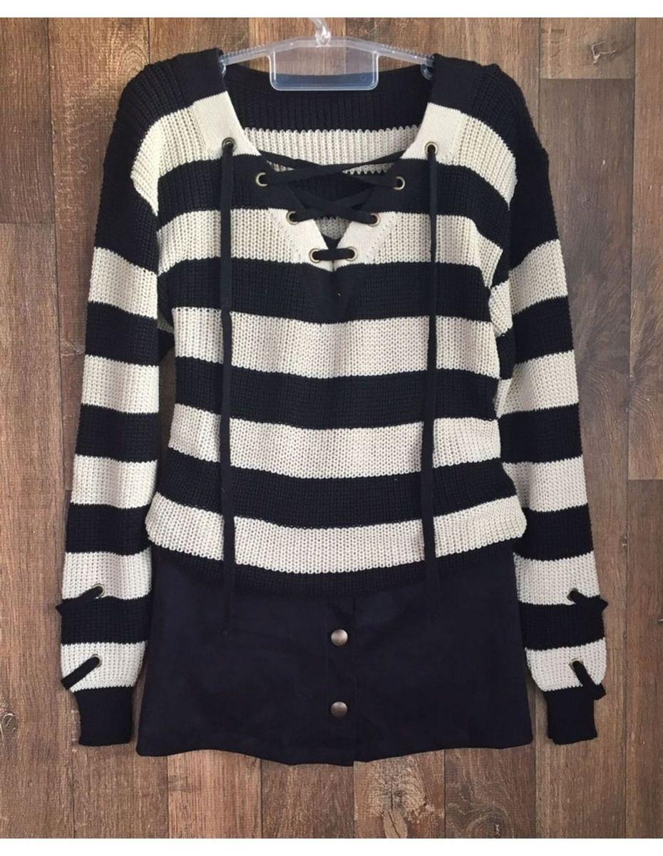 tricot ilhós listrado - blusas laissez-faire