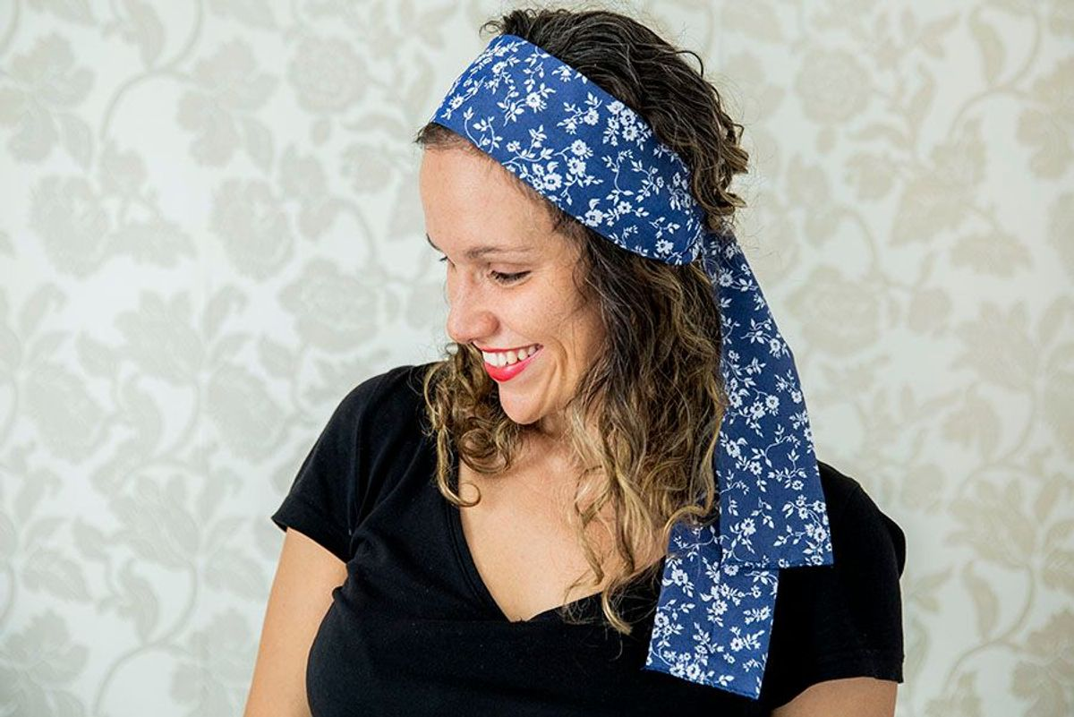 turbante floral azul - cabelos missenhorita