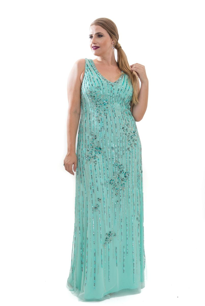 Vestido de festa verde agua longo