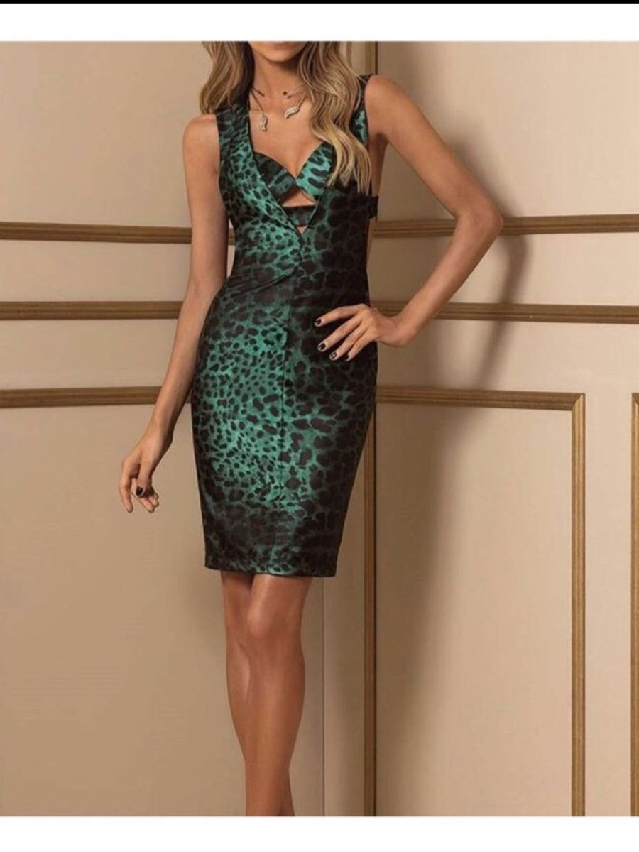 vestido agilita fabulous onça verde - vestidos agilità
