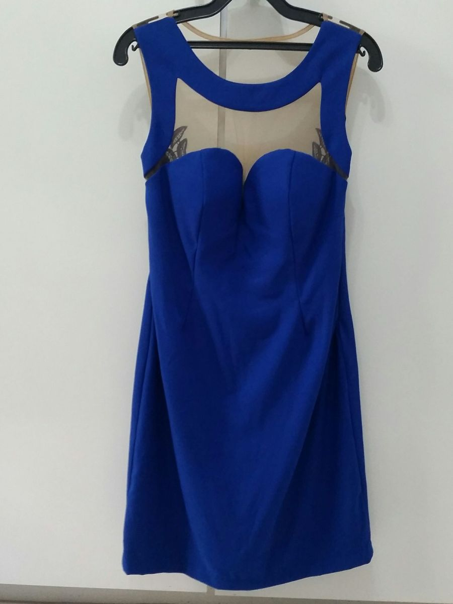 Vestido azul curto de renda