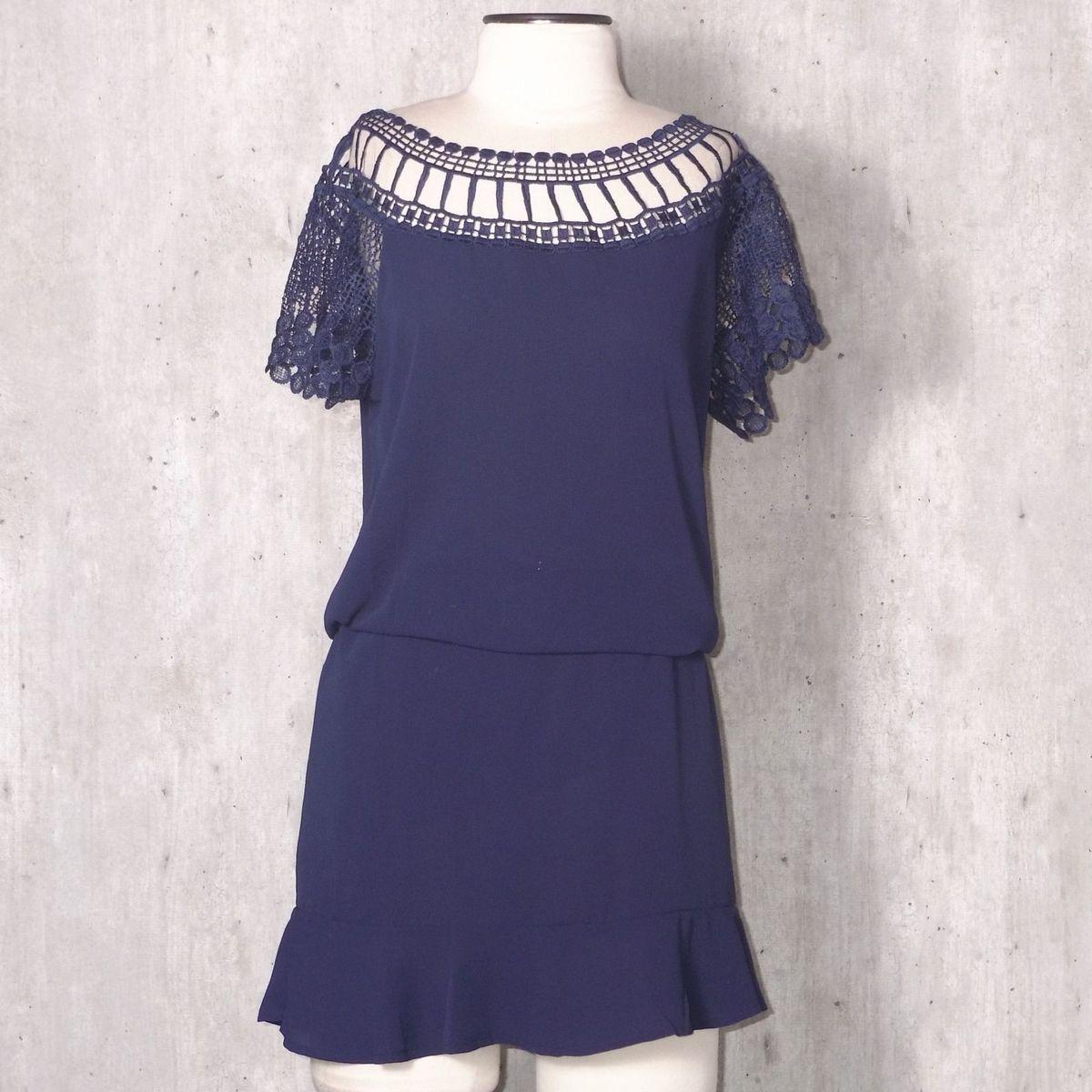 720d525cf Vestido Azul Marinho com Renda | Vestido Feminino Chifon Usado 31614689 |  enjoei
