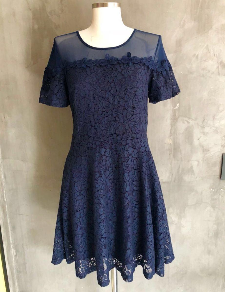 777e28564 Vestido Azul Marinho Renda e Tule | Vestido Feminino Importado Nunca ...
