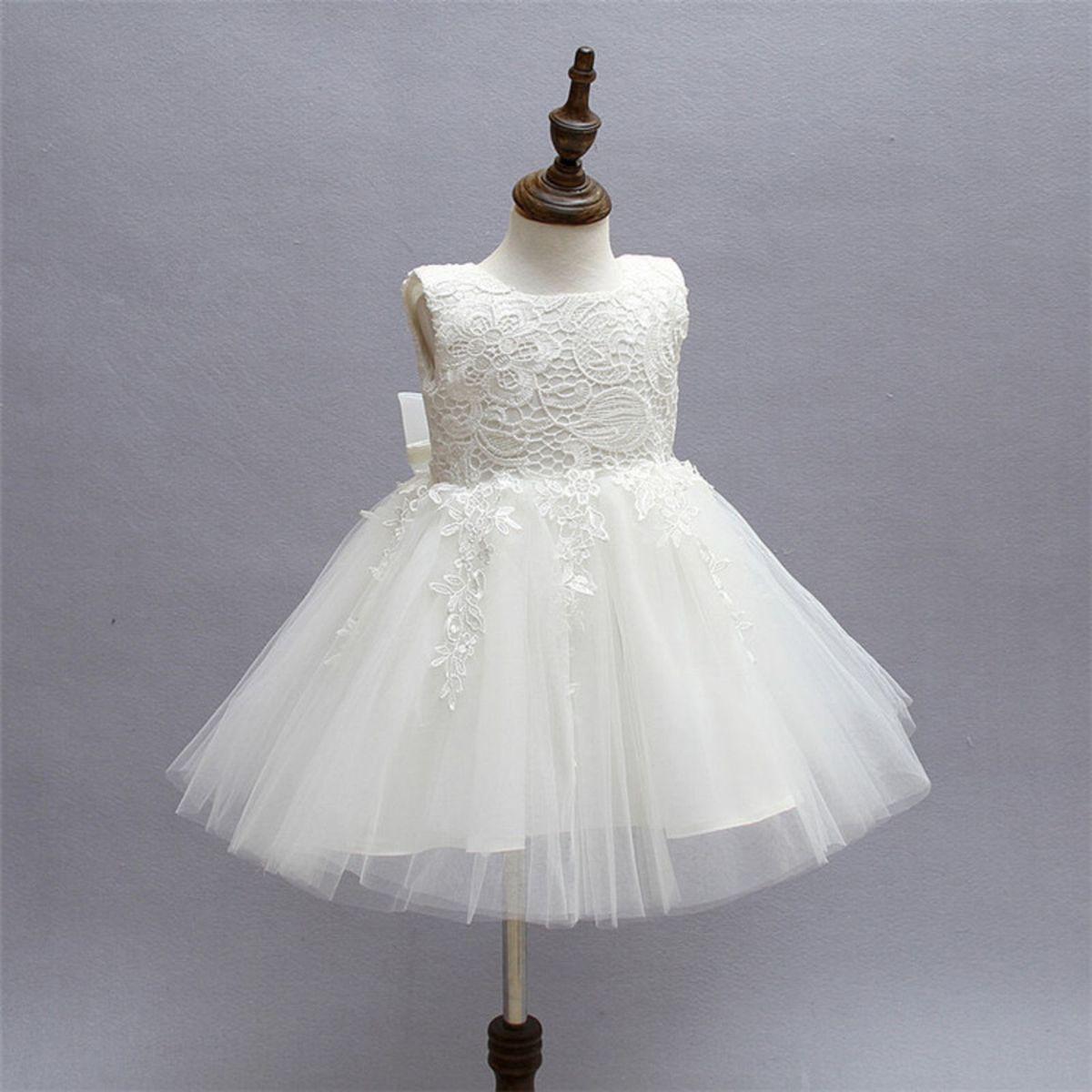 96c6455a78 Vestido Bebês - Batizado - Festa - Branco