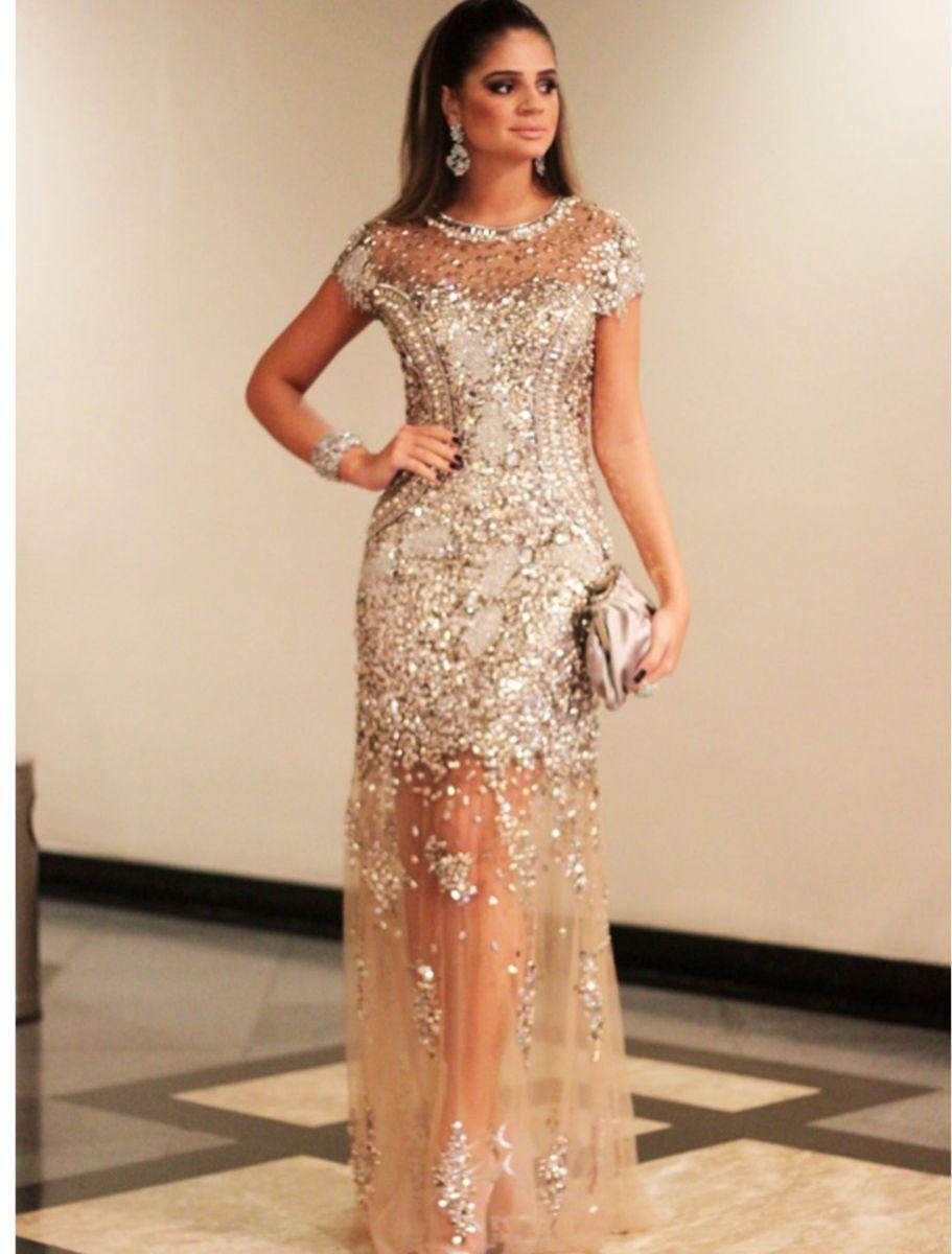 17fb871ec vestido bordado com pedrarias douradas - patrícia bonaldi - valor original  14.000,00 - vestidos