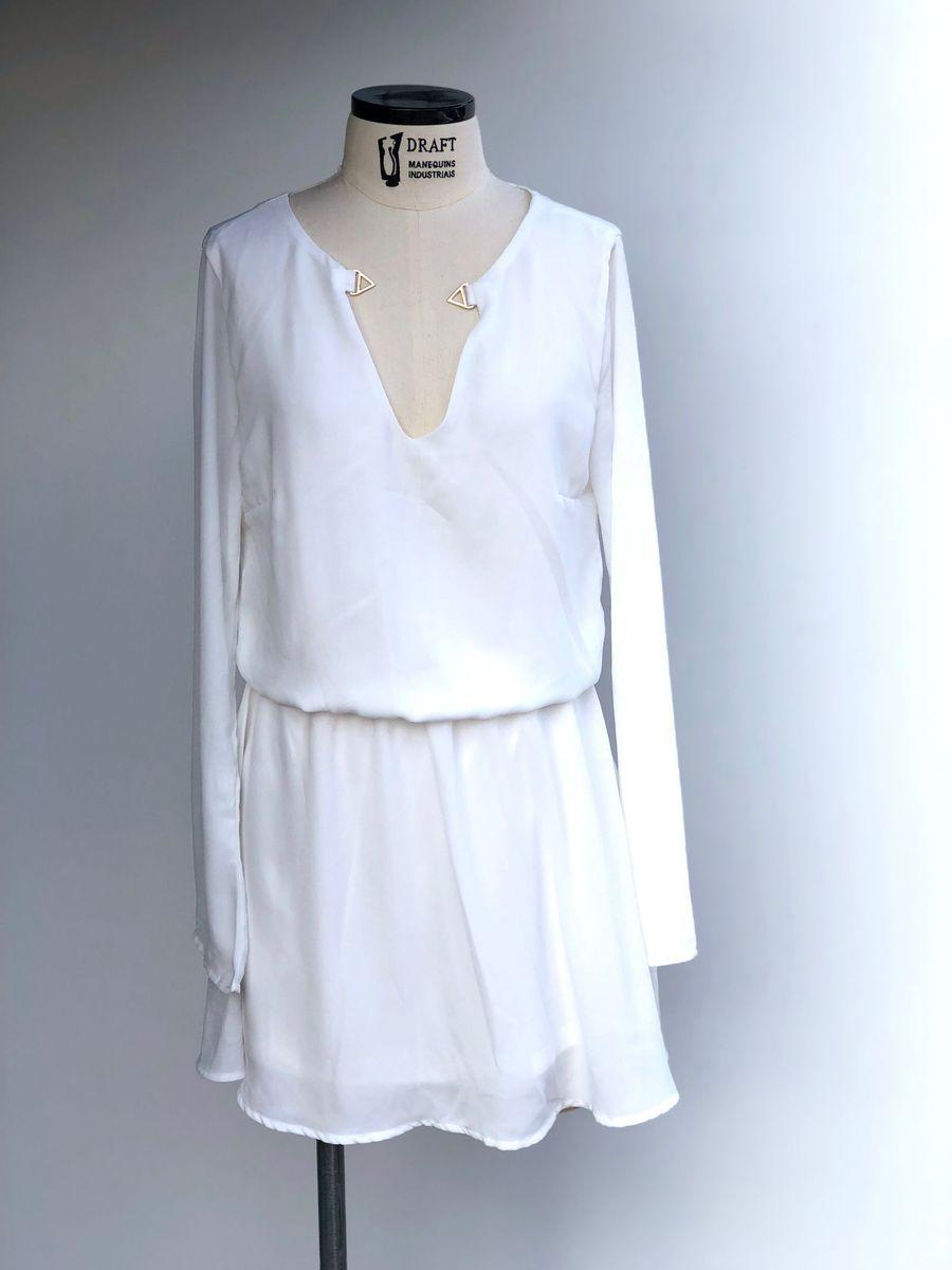 vestido branco manga longa dimy - vestidos dimy