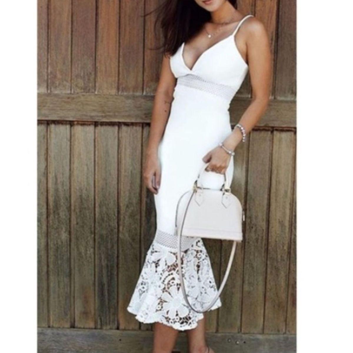 f22a05c6e Vestido Branco Zen Midi Sereia com Guipir | Vestido Feminino Zen Nunca  Usado 27995244 | enjoei