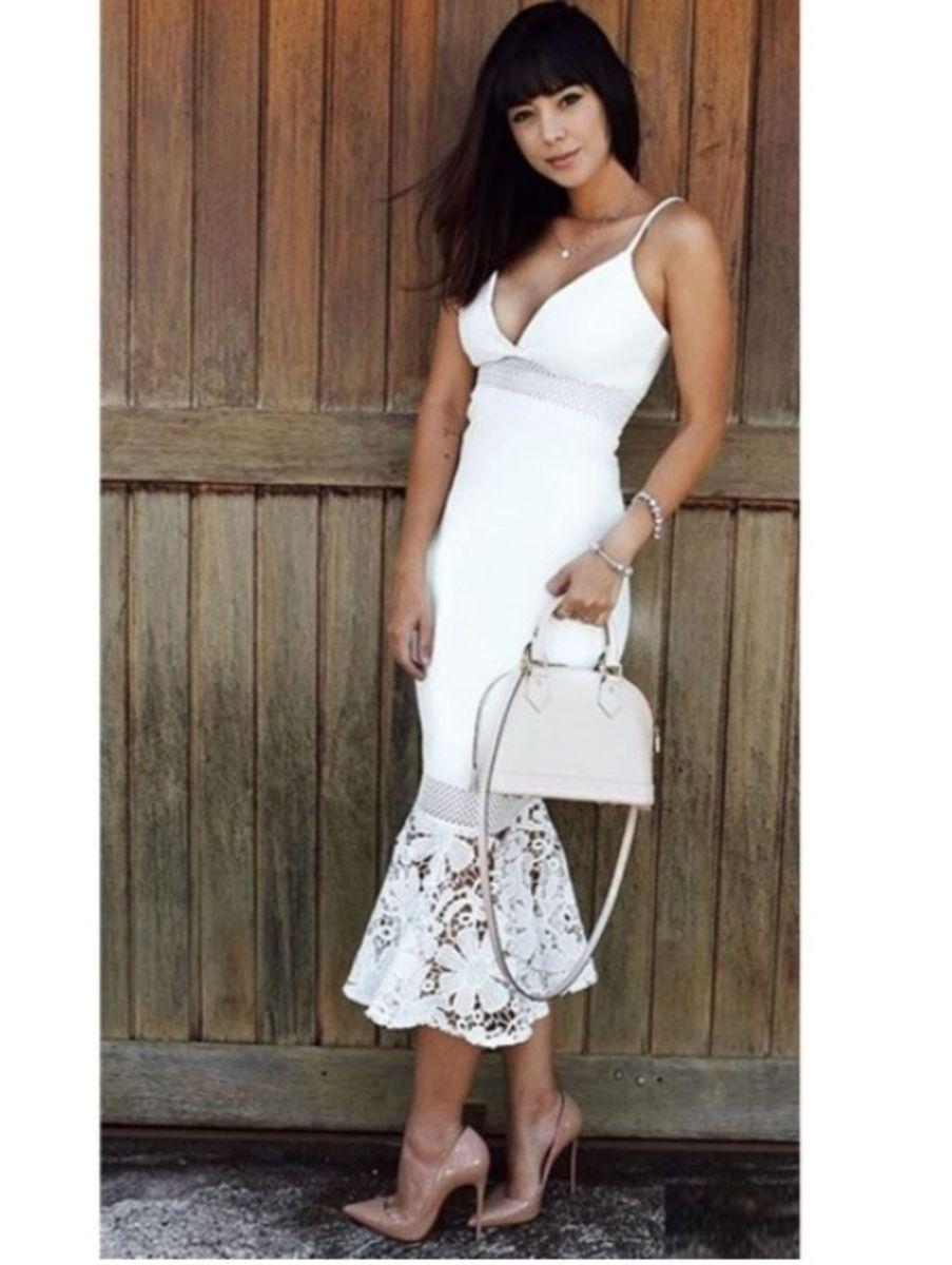 06430fd4f vestido branco zen midi sereia com renda guipir e alcinha - vestidos zen