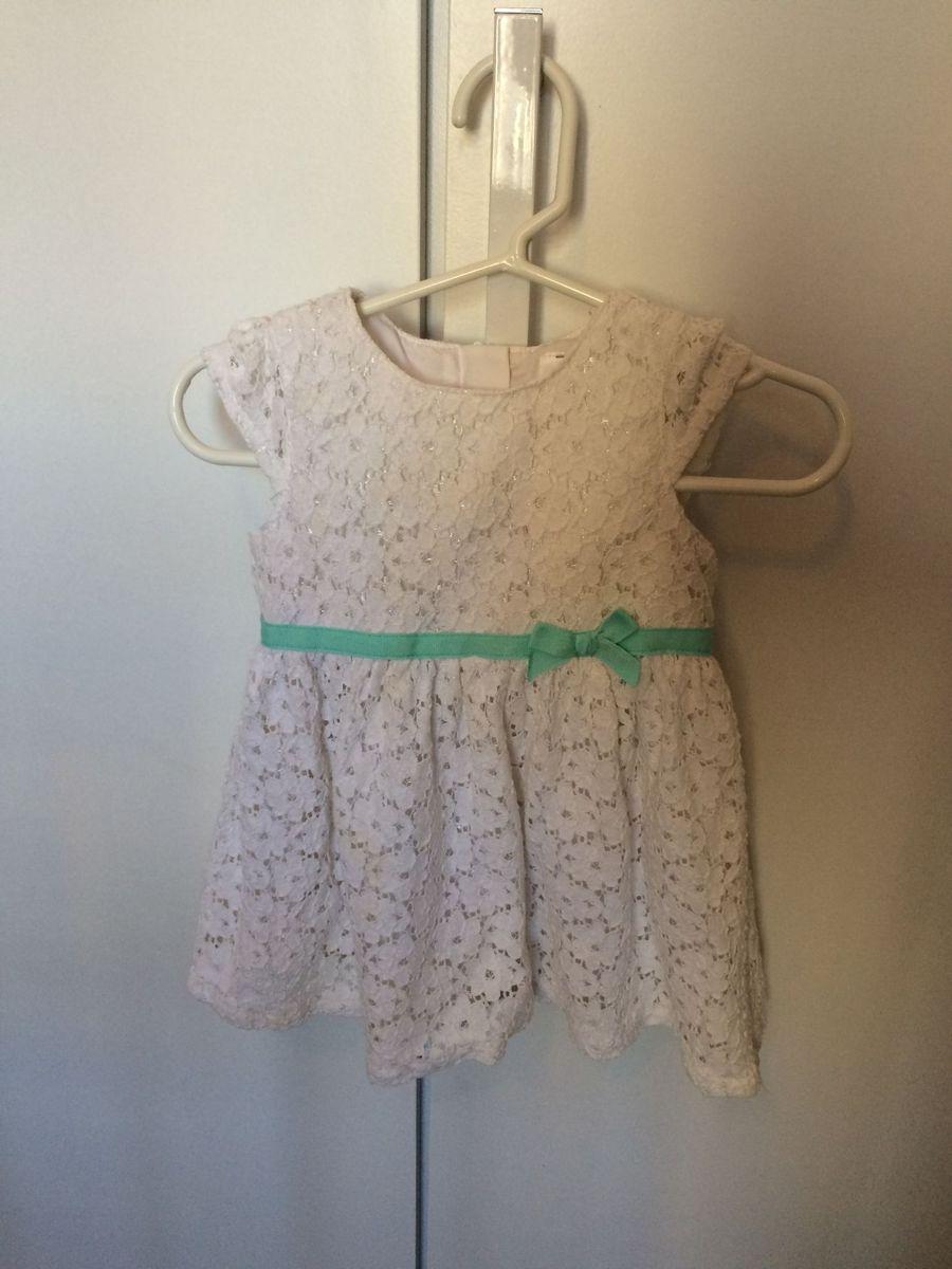 b59c3c4ef6 vestido carters de renda branco com fita verde tiffany - bebê cartes