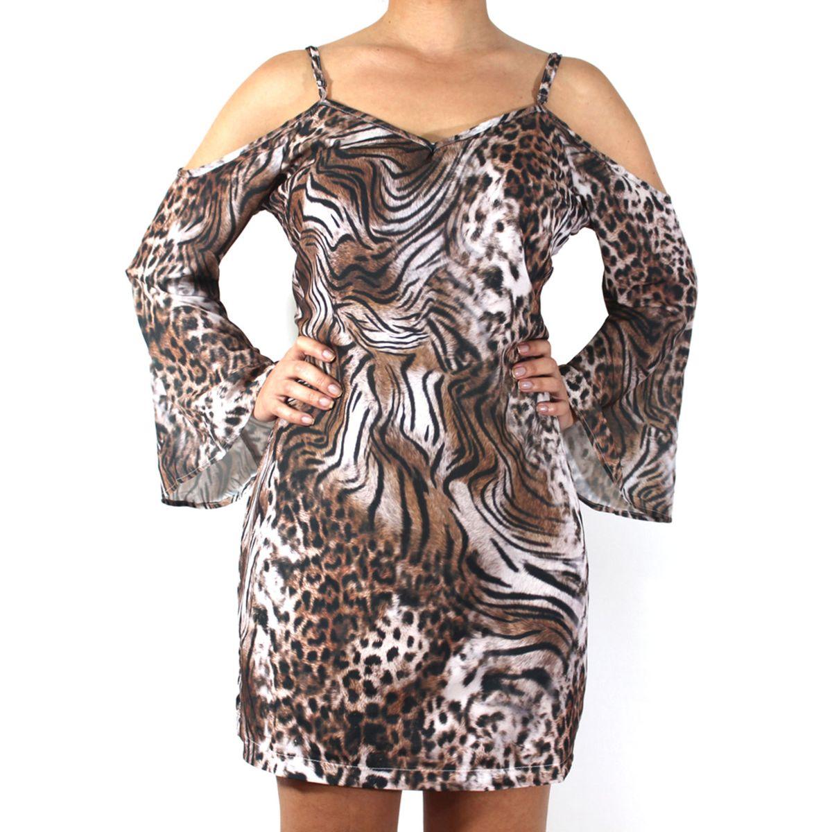 vestido ciganinha ombro vazado animal print - talgui - vestidos talgui 2b6bd1a0d41