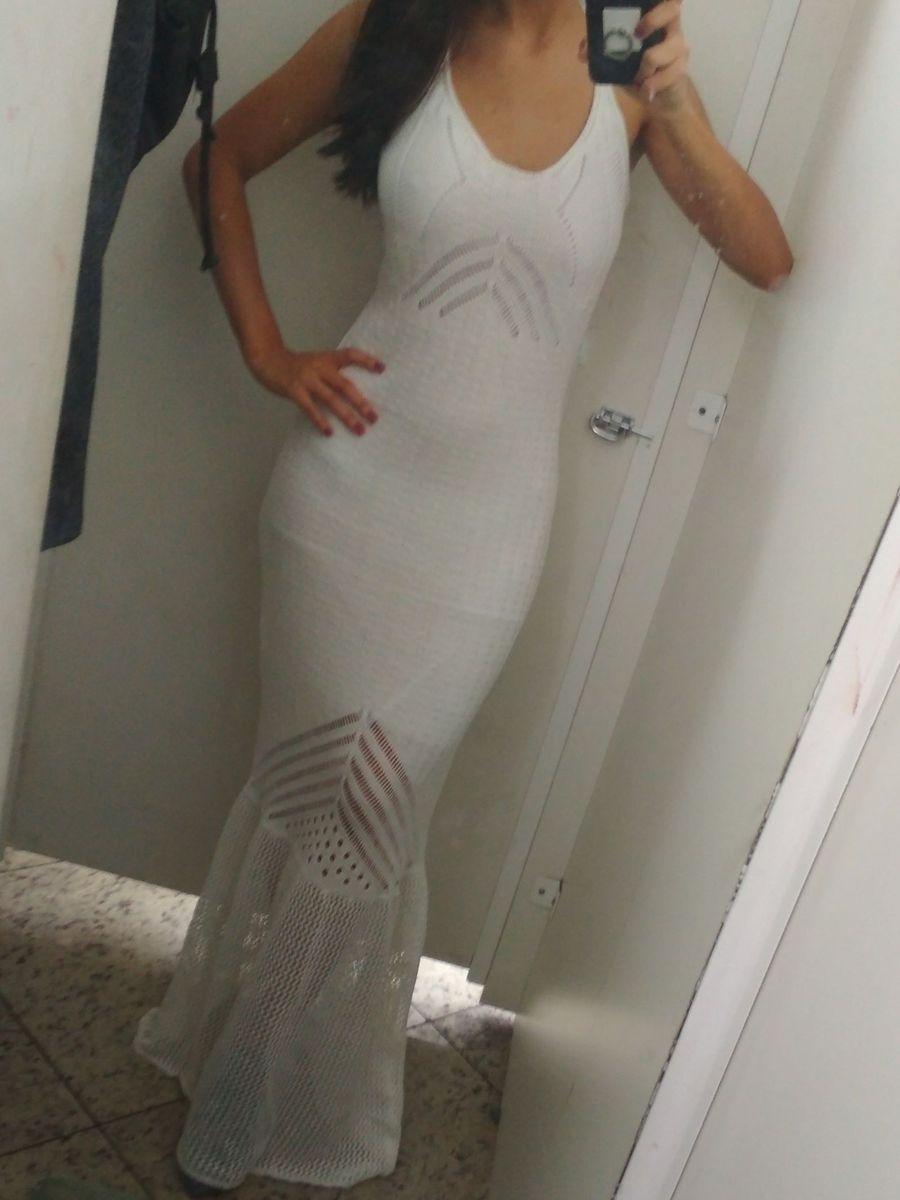 e3506b3da Vestido Croche Branco Longo Transparência | Vestido Feminino Nunca ...