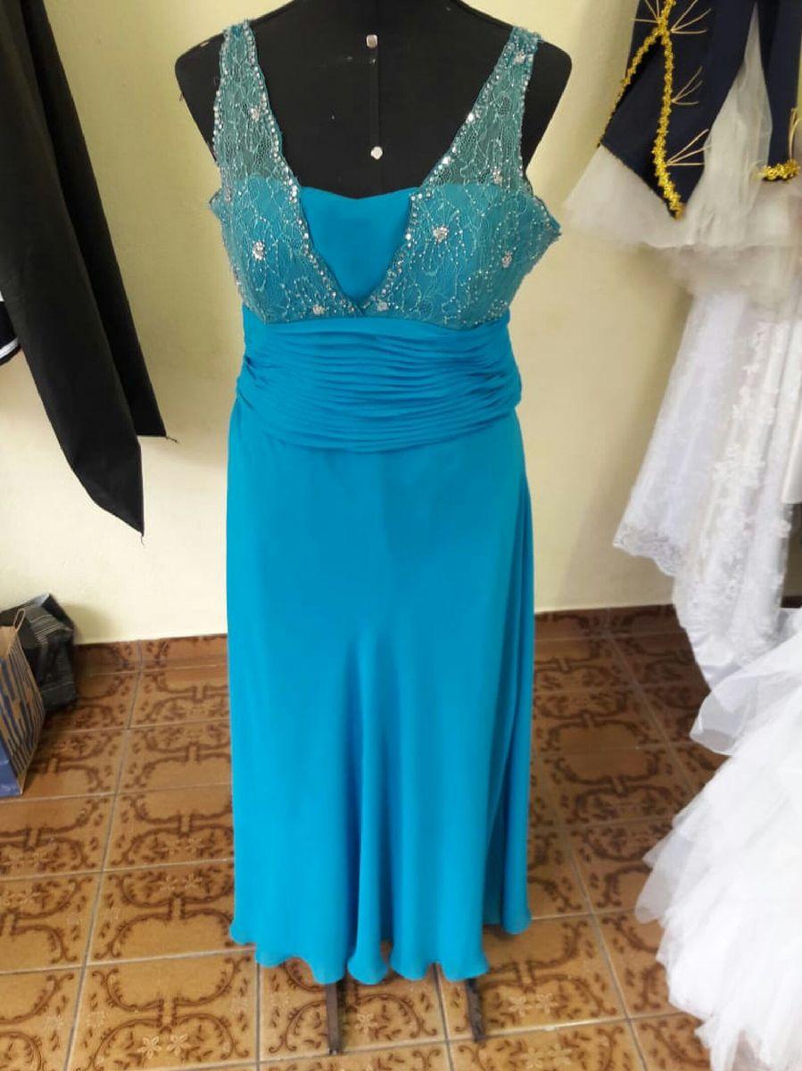 Vestido de festa na cor azul tiffany