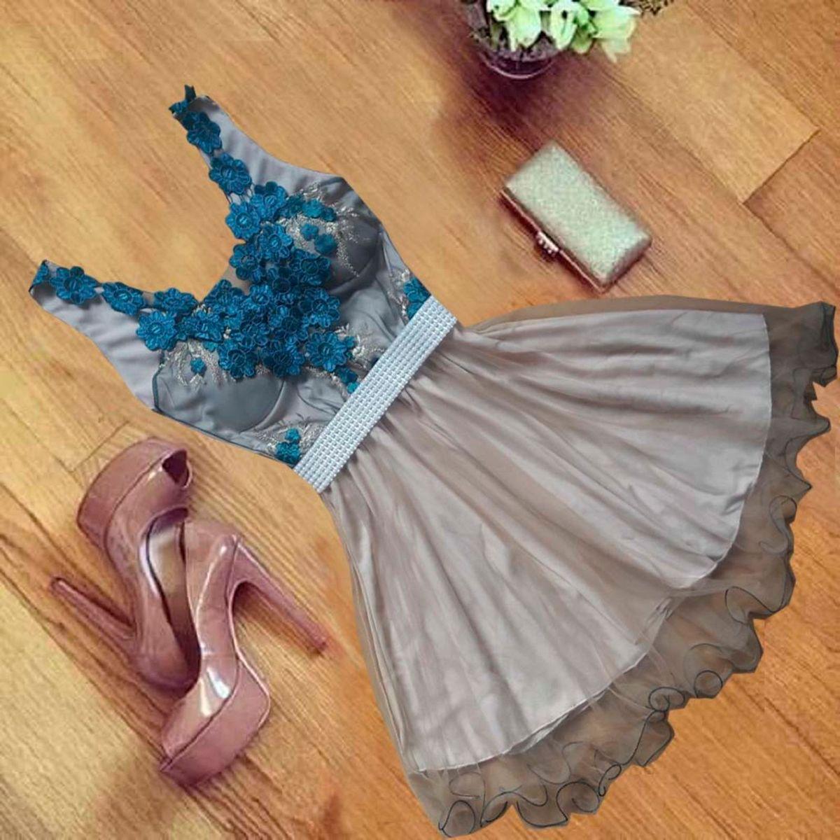 c002886f5 Vestido de Festa Curto Tule e Renda | Vestido de Festa Feminino Nunca Usado  26395032 | enjoei