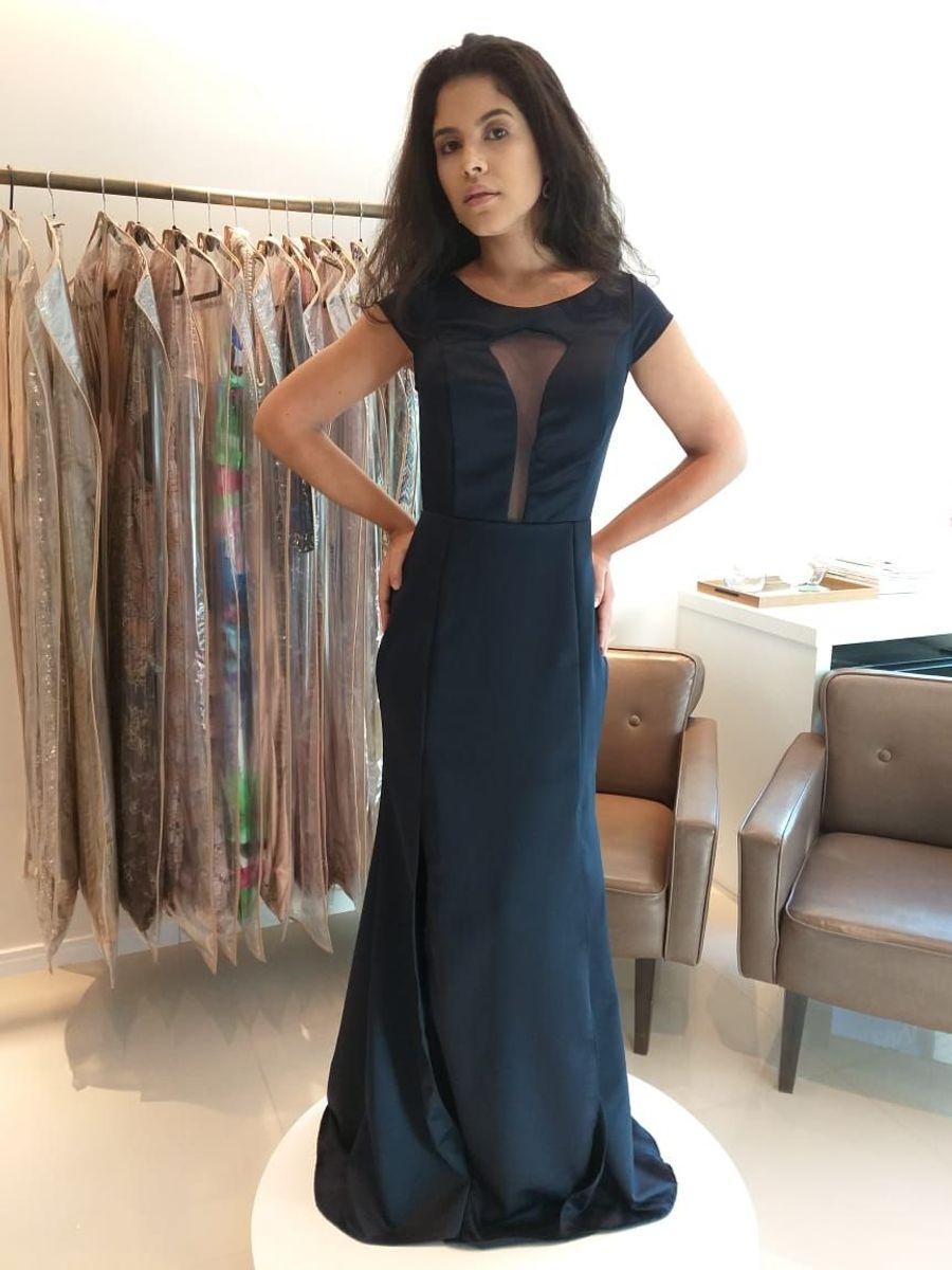 6fe571df0 vestido de festa longo azul marinho 38 convidada de casamento madrinha e  formatura - casamento sem
