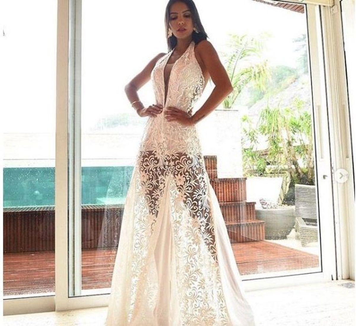 10341b233 vestido de festa longo branco de renda p colação missa formatura reveillon  - casamento sem marca