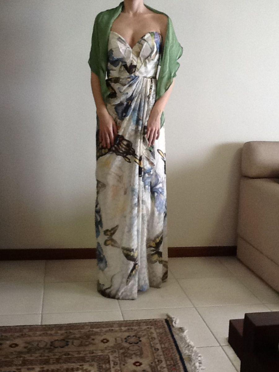 f83b3f9fd vestido de festa longo em crepe de seda enrugado e estampado - casamento  batom blue