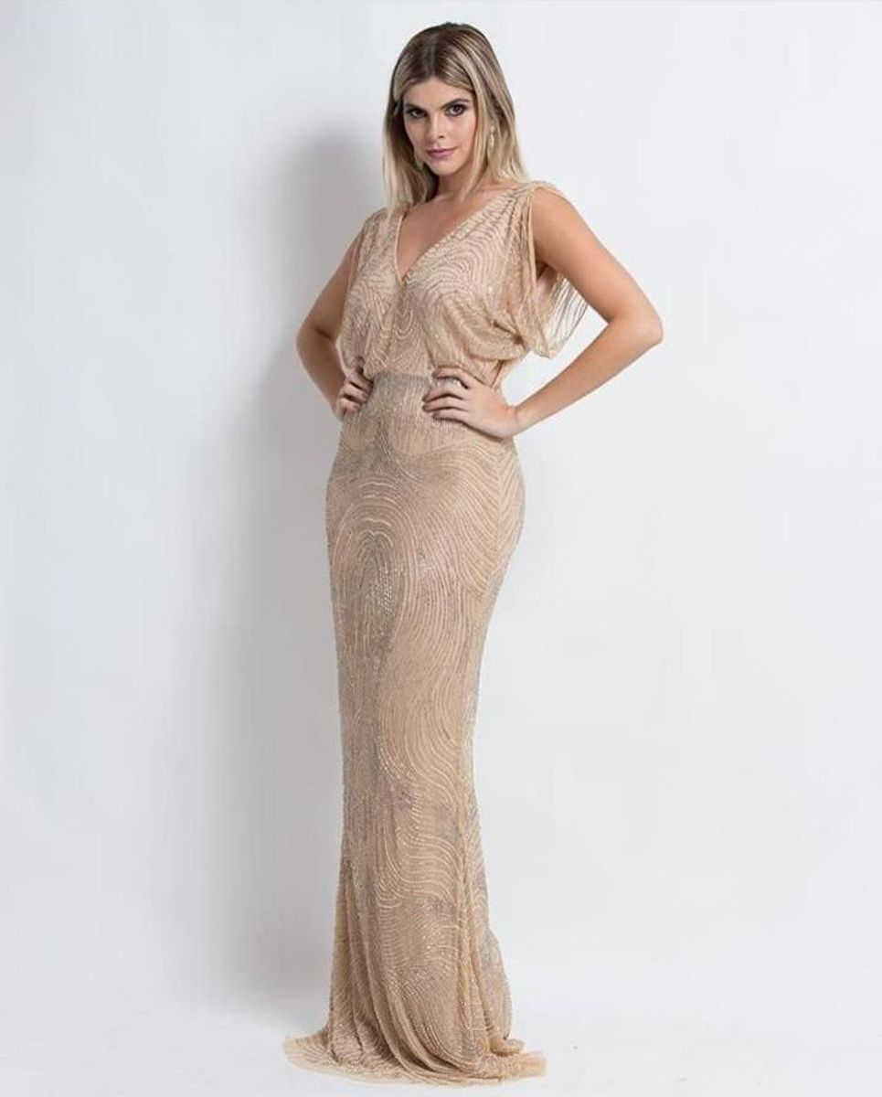 b434f4e4b vestido de festa longo nude bordado mãe de noivo madrinha convidada e  formatura - vestidos de