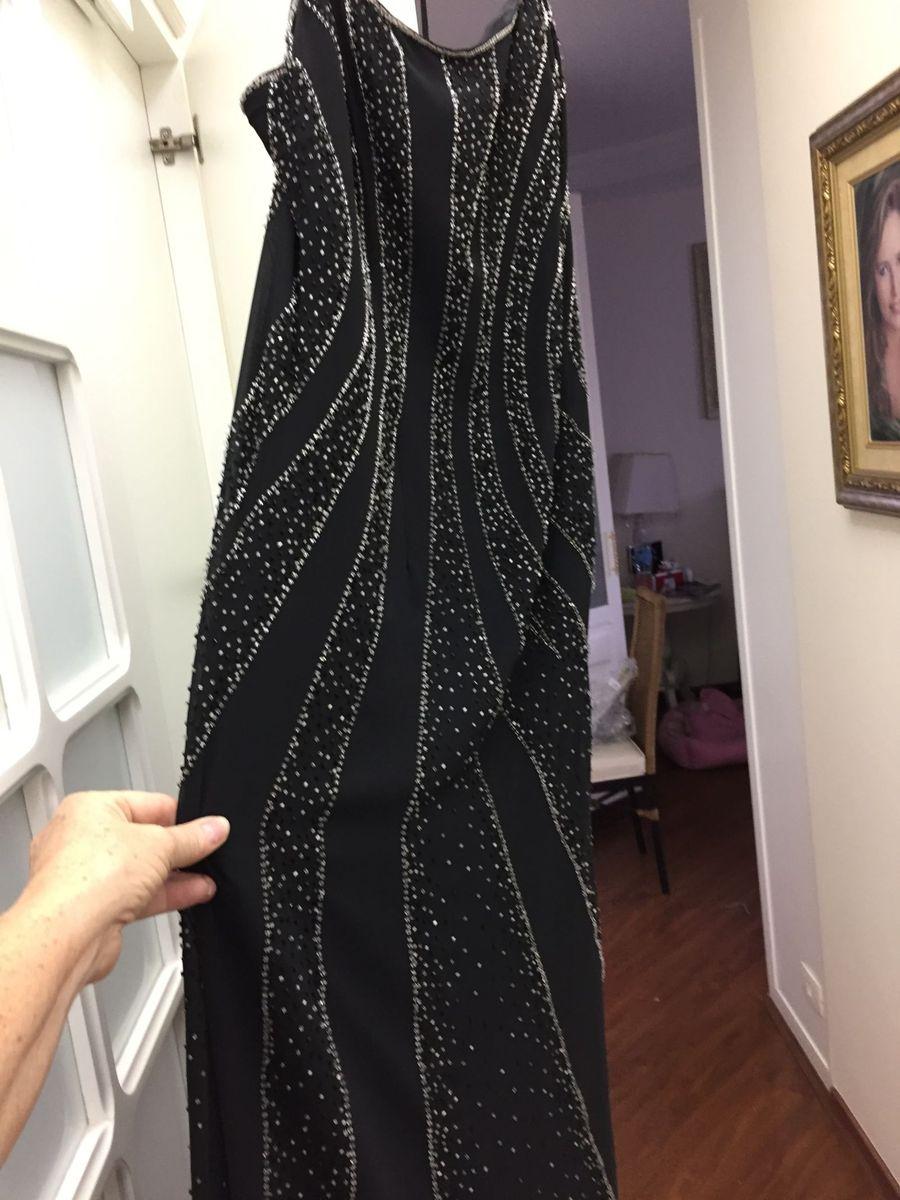 4c4deb9b80a vestido de festa longo preto bordado em pedrarias - vestidos de festa sem  marca